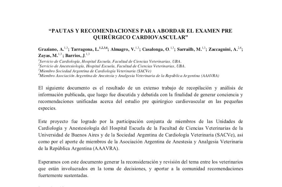 PROTOCOLO: Pautas y recomendaciones para abordar el exámen pre quirúrgico cardiovascular.